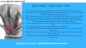 back pain self-help tips